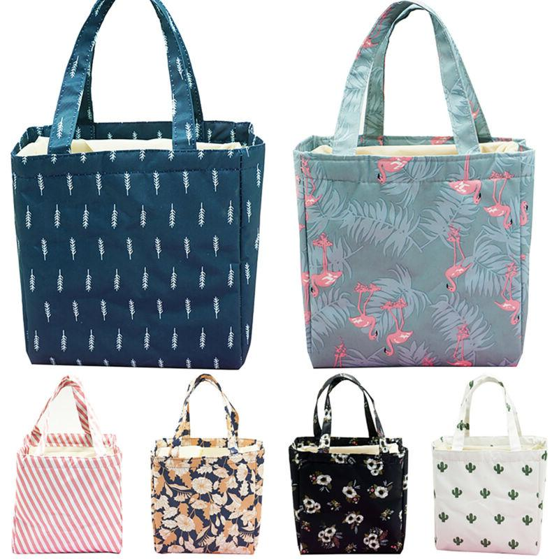 Women's Insulated Lunch Bag Travel Tote Print Carry Food Box