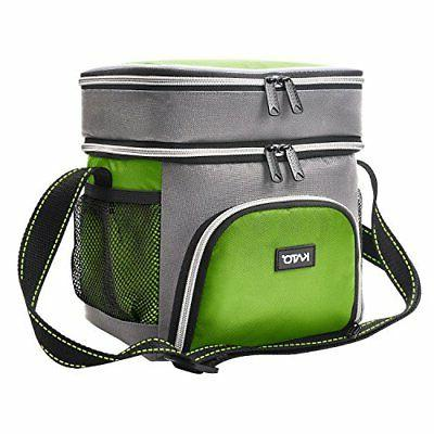 Insulated Small Lunch Bag, Leakproof Dual Compartment Therma