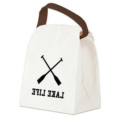lake life canvas lunch bag with strap