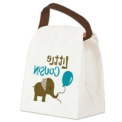 lcboymodelephant canvas lunch bag with strap handle