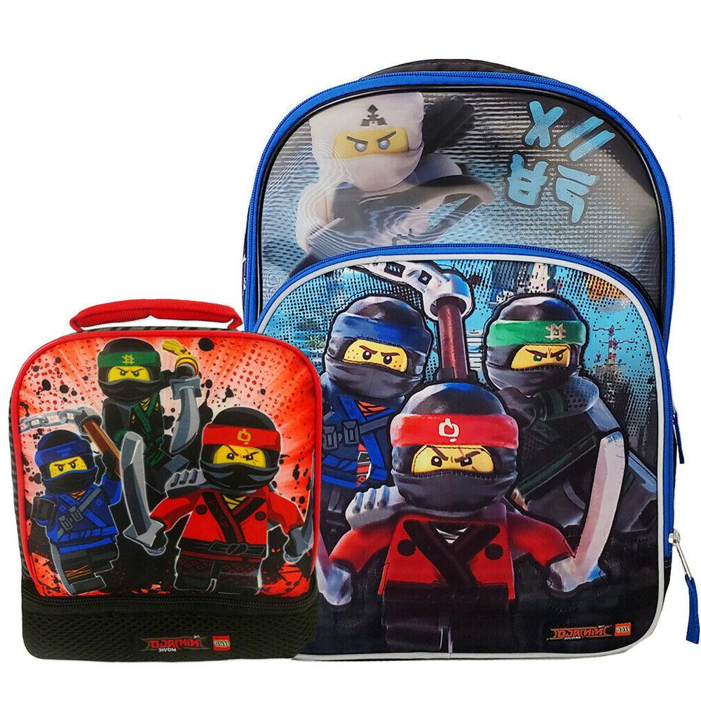 4pcs Ninjago Kids Schoolbag Large Backpack Insulated Lunch Bag Pencil Case Lot