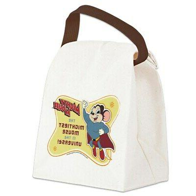 mightiest mouse canvas lunch bag with strap