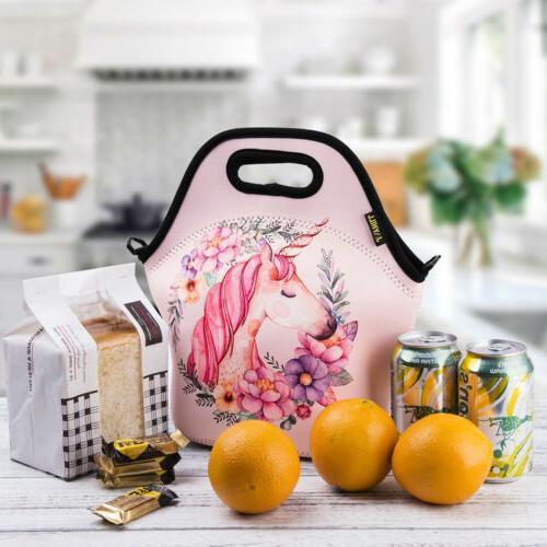 Neoprene Lunch Bags for Girls Pink Cartoon Unicorn Lunch Bag