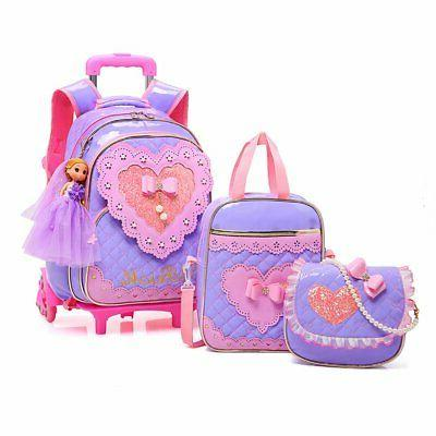 rolling backpack for girls with pencil case