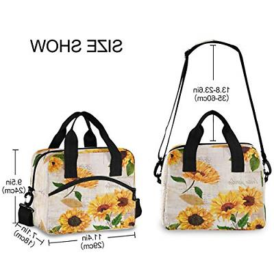 ALAZA Sunflower Blossom Floral Lunch Lunchbox Bag