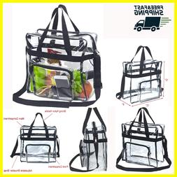 Large Clear Tote Lunch Bag with Adjustable Strap and Front S