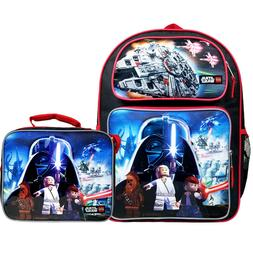"""Lego Star Wars Large Backpack 16"""" School Bag with Lunch Bag"""