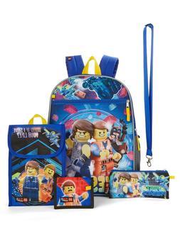Lego Movie Boys 5 piece Backpack Snack Bag School Book Bag w