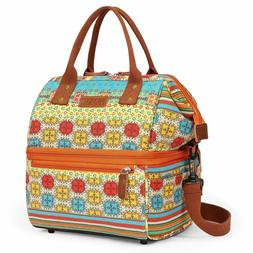 Lunch Bags for Women Nylon Double Deck Lunch box Wide Open I