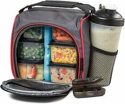 HomEquip Meal Prep Lunch Bag with 6 Portion Control Food Box