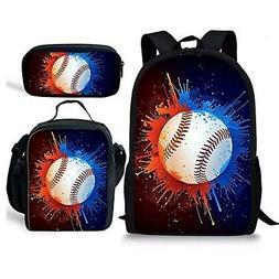 CHAQLIN Multi Baseball Pattern Sport Backpack Lunch Bags and