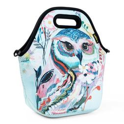 Kids Neoprene Lunch Bags for Women School Office Picnic Owl