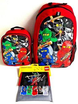 "Lego Ninjago 16"" Backpack Lunch Pockets Pouches & Box Bag Sc"