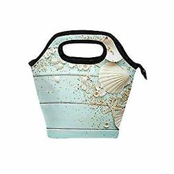 Ocean Beach Theme Insulated Zipper Lunch Bag Cooler Tote Bag