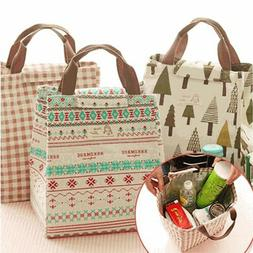 Portable Lunch Bags Insulated Canvas Box Tote Thermal Cooler