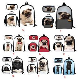 Pug Dog School Bags Set For Boy's Girls Backpack Lunch Bags