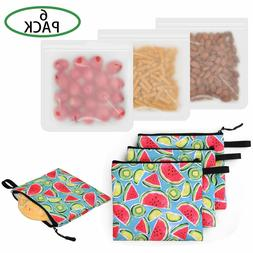 Reusable Sandwich Bags 6 Pack Silicone and Food Safe Fabric
