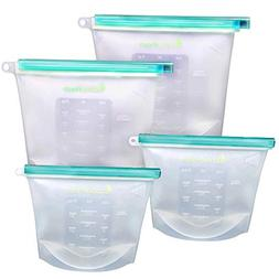 Reusable Silicone Food Storage Bags   Set of 4 - Large 1 1/2
