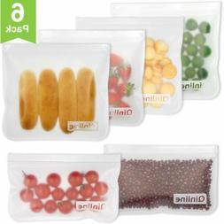 Reusable Storage Bags - 6 Pack Airtight Freezer Bags,BPA FRE