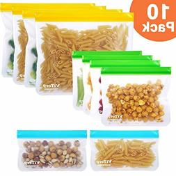 ViTeep Reusable Storage Lunch Bags 10 Pack Leakproof Freezer