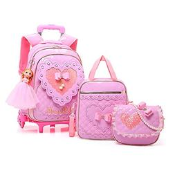 Meetbelify Rolling Backpack for Girls with Pencil Case&Lunch