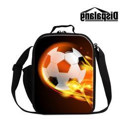 Student School Lunch Bag Soccer Print Cooler Bag for Kids Co