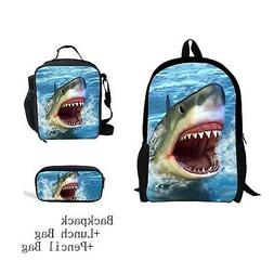 CHAQLIN Stylish Shark Printing Backpack Lunch Bag tote Penci