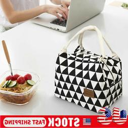 US Women Kids Men Insulated Canvas Box Tote Bag Thermal Cool
